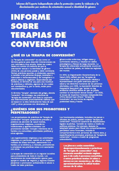 Informe sobre terapias de conversión.
